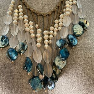 """Women's Blue and White """"Stone"""" Necklace"""